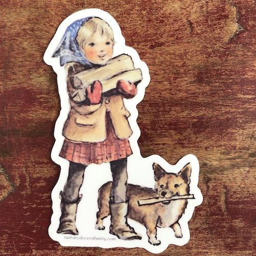 firewood corgi sticker sq