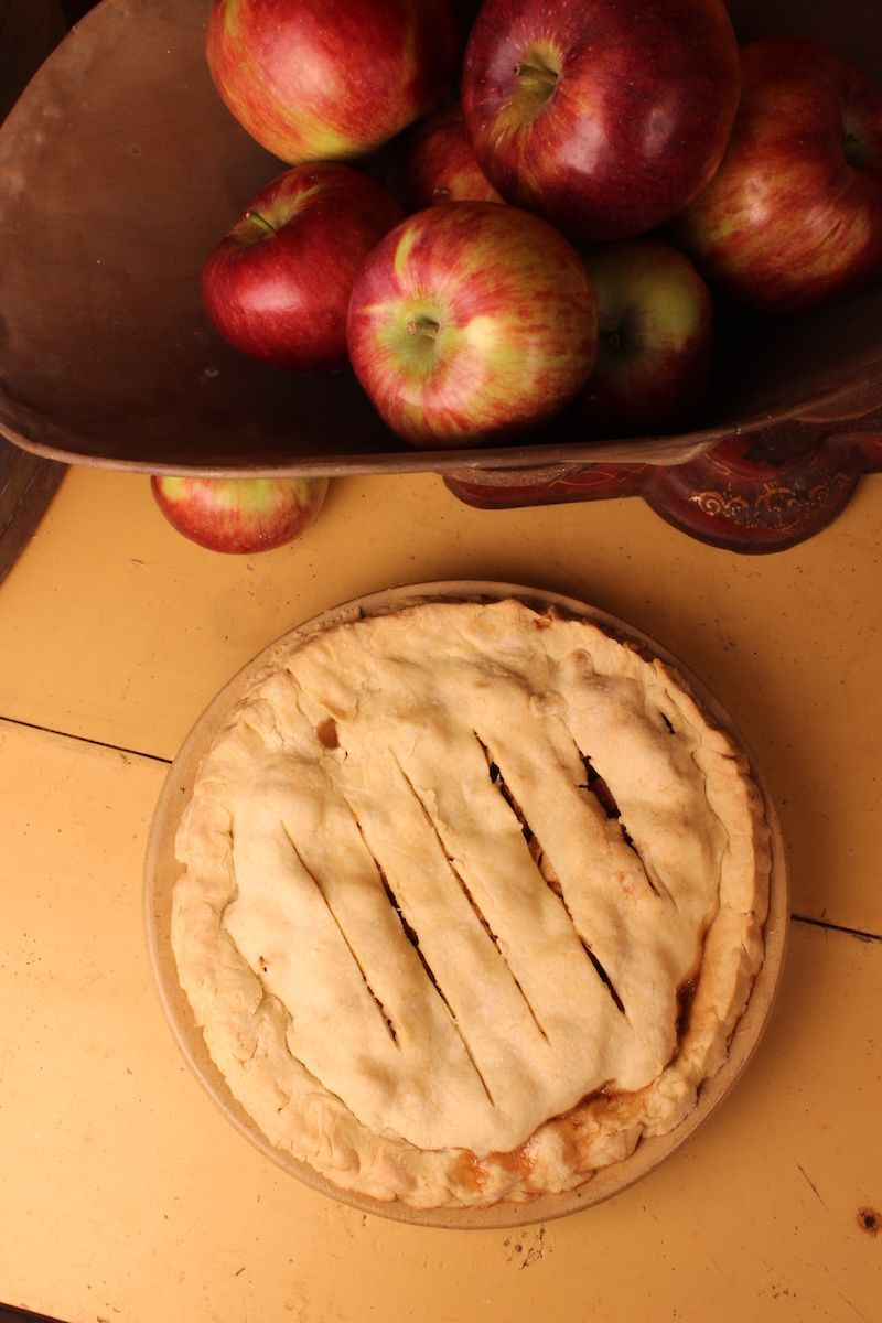 apples on scale with pie winslow tudor