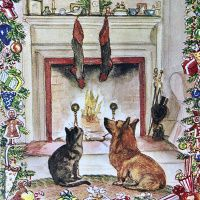 cat_corgi_fireplace_tasha_tudor