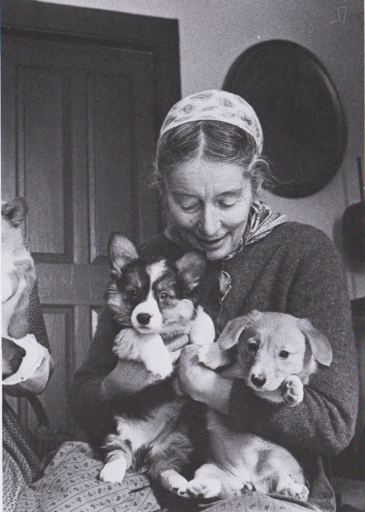 tasha-tudor-with-corgi-puppies